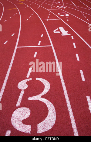 Markings and numbers on a running track, Pittsburgh, PA - Stock Photo