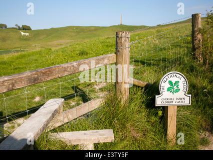 National Trust sign Cherhill Down and Oldbury Castle with Lansdowne monument visible, Cherhill, Wiltshire, England - Stock Photo