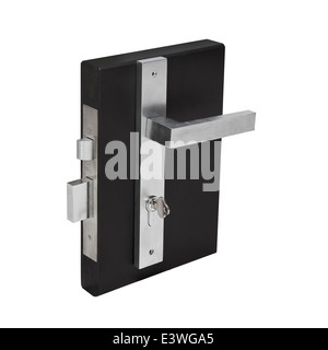 door lock fixture brushed steel fittings mechanism and keys. - Stock Photo