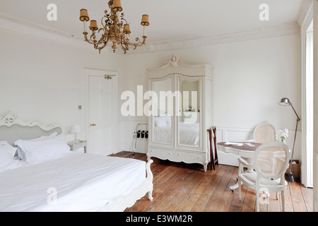 Bedroom in boutique bed and breakfast, The Reading Rooms, Margate, Kent - Stock Photo
