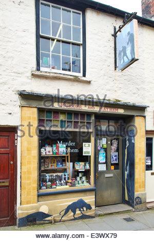 Murder and Mayhem bookshop Hay-on-Wye - the book town - Stock Photo