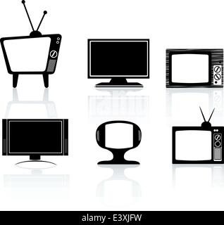 illustrations of different styles of tv television set - Stock Photo