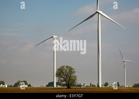 Tipton, Indiana - A wind turbine with a blade that was broken off by lightening. - Stock Photo