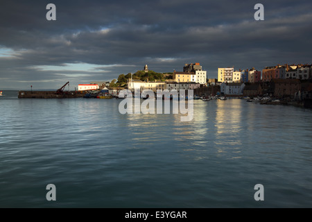 Tenby Harbour at sunset, West Wales, Pembrokeshire, UK. - Stock Photo