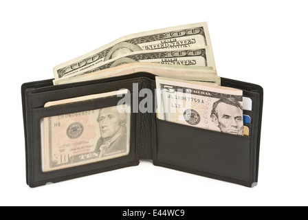 wallet and USD dollars with clipping path - Stock Photo