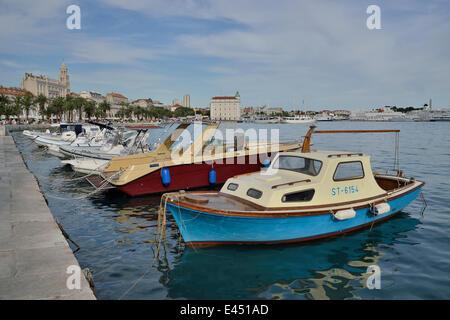 Fishing boats in the harbour, Adriatic, Split, Split-Dalmatia County, Croatia - Stock Photo