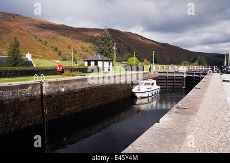 Motorboat in Laggan Locks, Caledonian Canal, Great Glen, Highlands, Scotland. September 2010. - Stock Photo