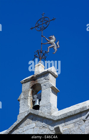 Weather vane with the Gevaudan Beast. Saint Alban sur Limagnole on el Camino de Santiago,  Margeride, Lozere, France, - Stock Photo