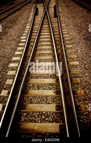 Railway track or train tracks - Stock Photo