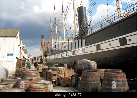 Provisions on quayside, SS Great Britain, Bristol Docks, England, Great Britain, United Kingdom, UK, Europe - Stock Photo