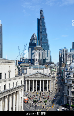 Bank road junction in city of London with Leadenhall landmark Cheese Grater office block towering over Royal Exchange& - Stock Photo