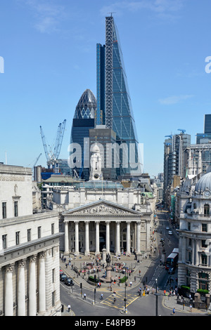 Bank road junction in the city of London with Leadenhall Cheese Grater office block towering over the Royal Exchange - Stock Photo