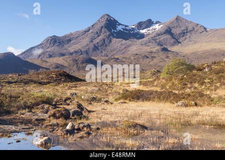 Sgurr nan Gillean from Sligachan on the Isle of Skye, Inner Hebrides, Scotland. - Stock Photo