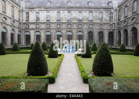 Courtyard of the Cloister, Saint-Vaast Abbey, now housing the Arras Fine Arts Museum, Arras, Pas-de-Calais, France, - Stock Photo