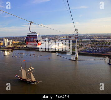 View from The Emirates Air line cable car with sailing ship on the Thames, London, England, United Kingdom, Europe - Stock Photo