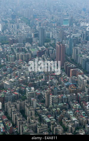 View over Taipeh from the 101 Tower, Taipeh, Taiwan, Asia - Stock Photo
