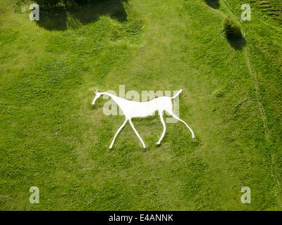 Hackpen white horse near The Ridgeway on the Marlborough Downs - Stock Photo