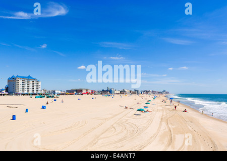 The beach at Ocean City viewed from the pier, Worcester County, Maryland, USA - Stock Photo