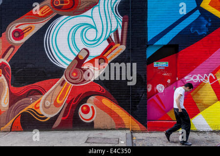Graffiti Art, Shoreditch, London, England - Stock Photo