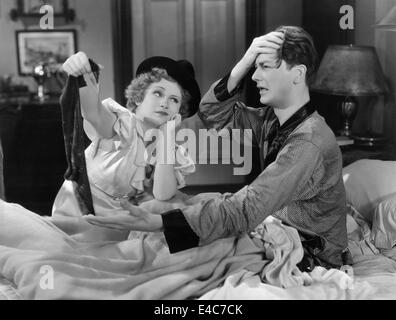Margaret Perry, Robert Young, on-set of the Film, 'New Morals for Old', 1932 - Stock Photo