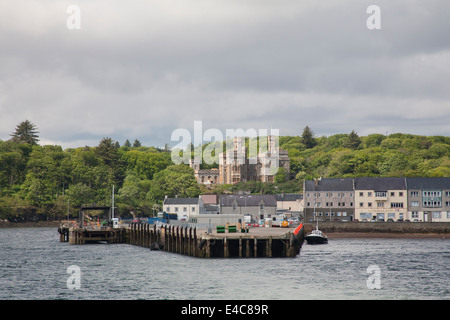 View back to port with Lews Castle in background from departing ferry Stornoway Isle of Lewis - Stock Photo