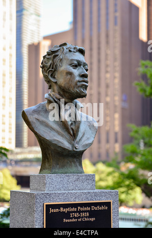 Jean-Baptiste Pointe DuSable, Founder of Chicago, Bust Sculpture in Pioneer Court along The Magnificent Mile, Michigan - Stock Photo