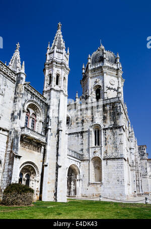 Jeronimos Monastery is located in the Belem district of Lisbon, Portugal. This monastery is one of the most prominent - Stock Photo