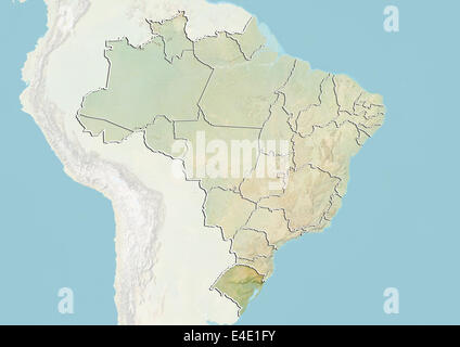 Brazil and the State of Rio Grande do Sul, Relief Map - Stock Photo