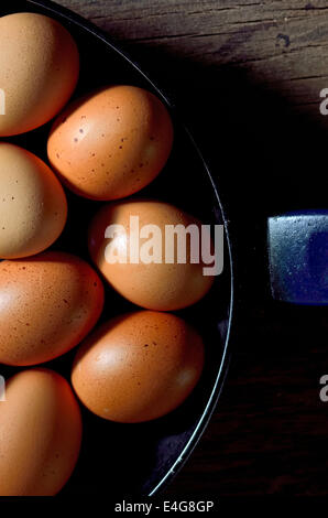 Whole brown egg in cast pan fried - Stock Photo