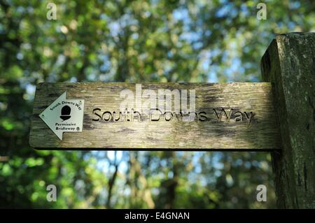 Permissive Bridleway signpost in wooded area on the South Downs Way at Harting Down - Stock Photo