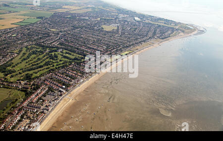 aerial view of the coast and beach at Southend on Sea, Essex, UK - Stock Photo