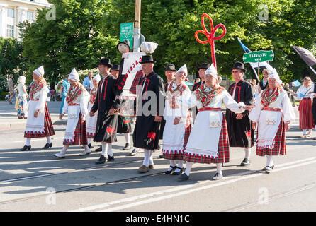 Tallinn, Estonia - July 05, 2014: Parade of the Estonian XXVI National song and dance festival called Aja Puudutus, - Stock Photo
