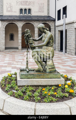 Sculpture in courtyard of the Church of Sant Pere Martir, Escaldes-Engordany, Andorra - Stock Photo