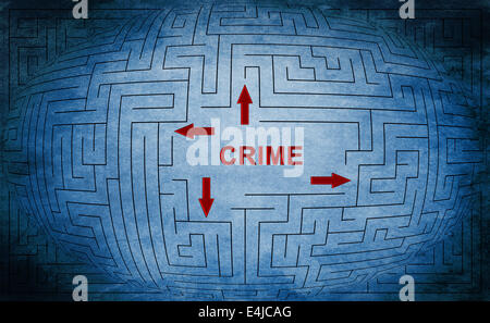 Crime maze concept - Stock Photo