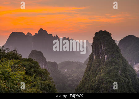Karst mountain landscape in Xingping, Guangxi Province, China. - Stock Photo