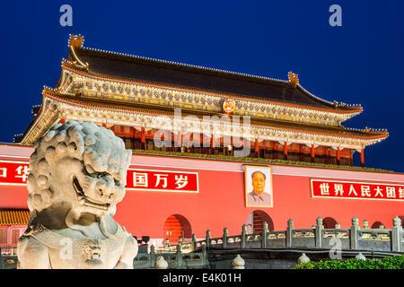 Tiananmen Square gate in Beijing, China. - Stock Photo