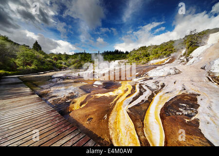 Orakei Korako geotermal area, New Zealand - Stock Photo