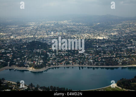 Silver Lake Reservoir and Hollywood, Los Angeles, California, USA - aerial - Stock Photo
