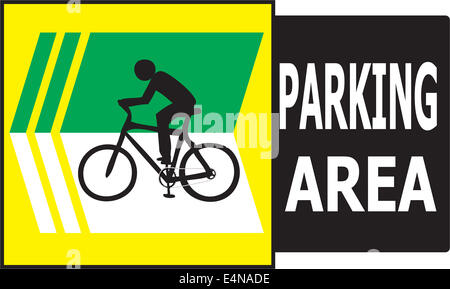 Vector of turn left sign show that it allow only bicycle can park in this area. - Stock Photo