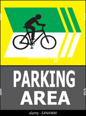 Vector of turn right sign show that it allow only bicycle can park in this area. - Stock Photo