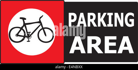 Vector of sign show that it allow only bicycle can park in this area. - Stock Photo