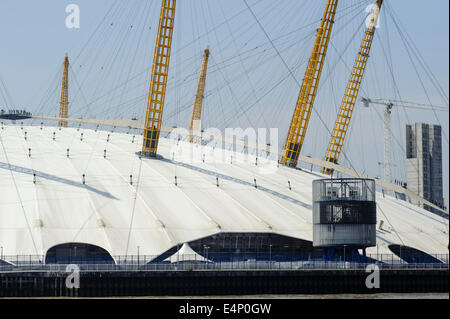 The O2 Arena / Dome as seen from the river Thames - Stock Photo