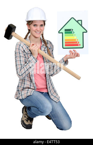Woman with energy rating poster - Stock Photo