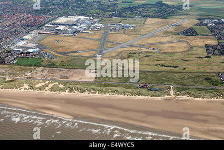 aerial view of Blackpool International Airport, formerly Squires Gate Airport, on the Fylde coast near Blackpool, - Stock Photo