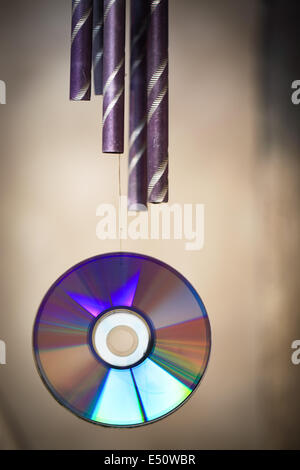 wind chime and cd rom - Stock Photo