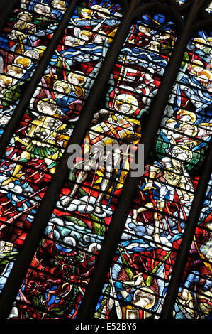 Stained glass window Christ Church Oxford UK - Stock Photo
