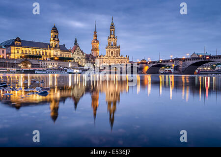 Dresden, Germany cityscape on the Elbe River. - Stock Photo