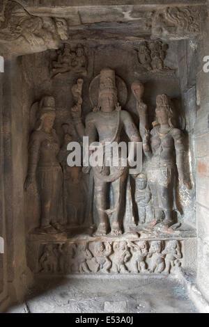 Cave 1 : Shiva and consorts. Badami Caves, Bijapur district, Karnataka, India - Stock Photo