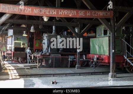 Old steam locomotives Jaworzyna Slaska depot - Stock Photo