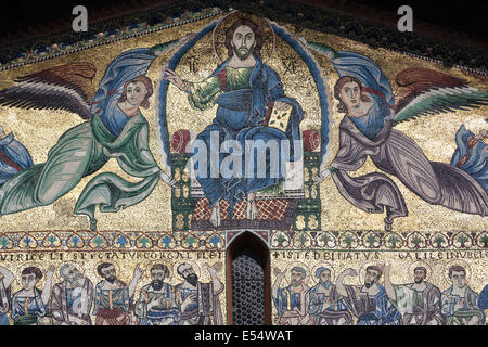 Thirteenth-century mosaic of 'The Ascension' on facade of  San Frediano, Lucca, Tuscany, Italy, Europe - Stock Photo